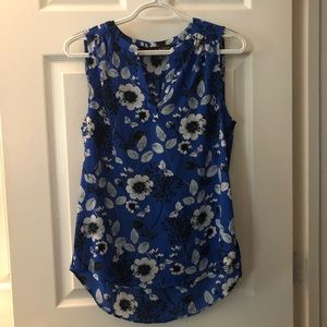 Dressy Tank • Blue with Black and White Flowers
